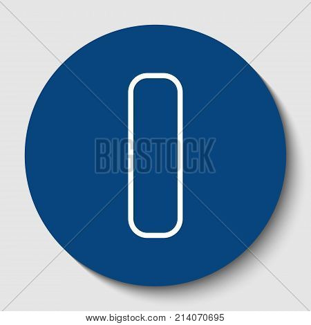 Letter I sign design template element. Vector. White contour icon in dark cerulean circle at white background. Isolated.