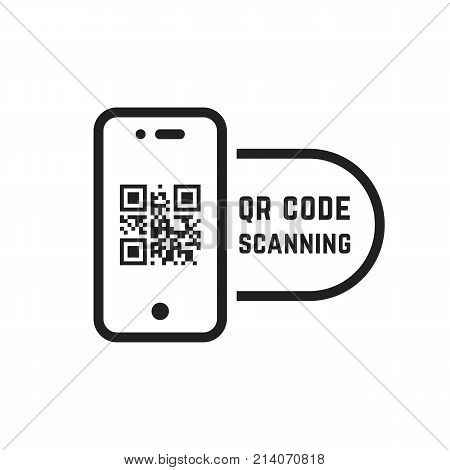 qr code scanning like linear black phone. concept of pixel art square, product promotion label, telephone screen, device. flat style trend modern logotype graphic design element on white background