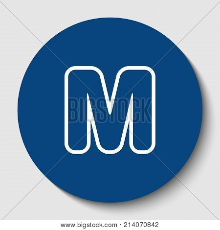 Letter M sign design template element. Vector. White contour icon in dark cerulean circle at white background. Isolated.