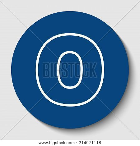 Letter O sign design template element. Vector. White contour icon in dark cerulean circle at white background. Isolated.