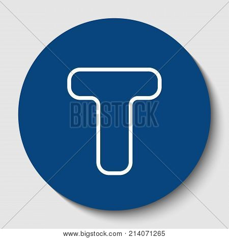 Letter T sign design template element. Vector. White contour icon in dark cerulean circle at white background. Isolated.