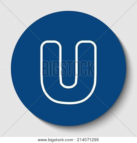 Letter U sign design template element. Vector. White contour icon in dark cerulean circle at white background. Isolated.