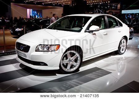 Moscow, Russia - August 25: White Car Volvo S40  At Moscow International Exhibition Interauto On Aug