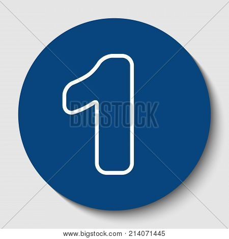 Number 1 sign design template element. Vector. White contour icon in dark cerulean circle at white background. Isolated.