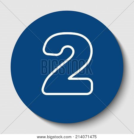 Number 2 sign design template elements. Vector. White contour icon in dark cerulean circle at white background. Isolated.