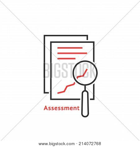 thin line assessment auditing icon. concept of annual taxes, seo, scrutiny, info list page evaluation, web analytics service, glass. flat style trend modern logotype graphic design on white background