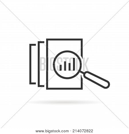 black thin line assessment logo. concept of annual taxes, seo, scrutiny, info list page evaluation, web analytics service, glass. flat style trend modern logotype graphic design on white background