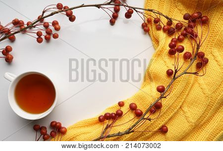 White background with branches with small apples and yellow sweater and a Cup of tea, close-up, Top view