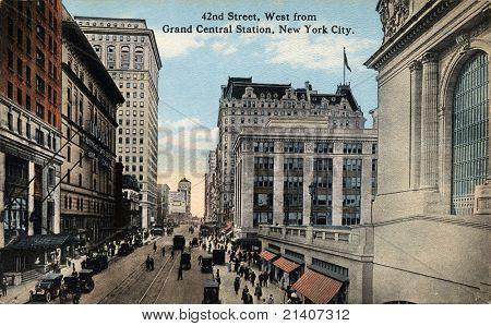NEW YORK CITY - ca. 1912: Vintage Ansichtskarte 42ND Street, West von der Grand Central Station