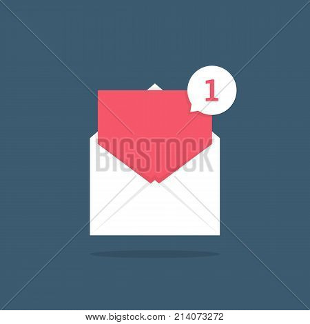 notification icon speech bubble in open letter. concept of ui, red empty space, mailbox, check list, writing incoming, send data file. flat style trend modern logotype graphic design on background