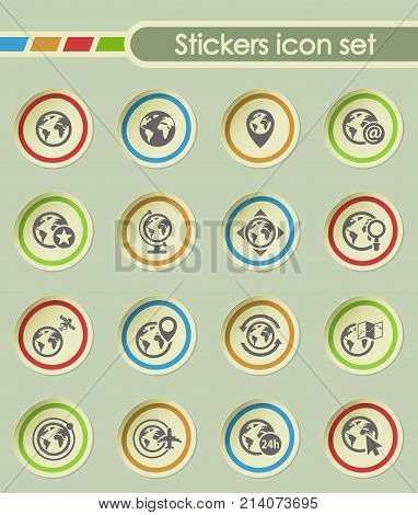 globes round sticker icons for your creative ideas