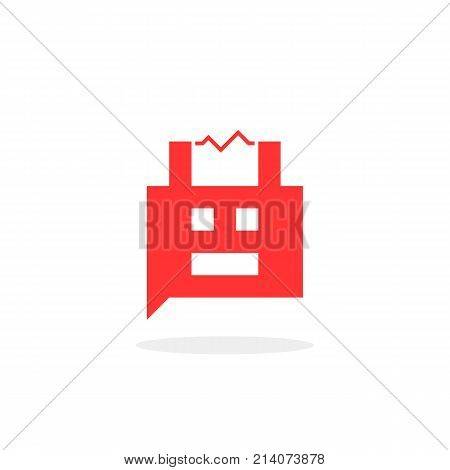 red bubble 8bit chat box. concept of internet irc, interactive, robotic spam, technology, cybernetics, technical support, ai. flat 8 bit style trend modern logotype graphic design on white background