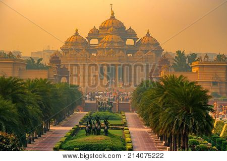 Facade of Akshardham or Swaminarayan temple complex in Delhi, India. The largest Hindu mandir in the world