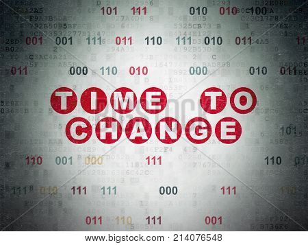 Time concept: Painted red text Time to Change on Digital Data Paper background with Binary Code