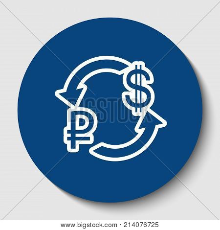Currency exchange sign. Ruble and US Dollar. Vector. White contour icon in dark cerulean circle at white background. Isolated.
