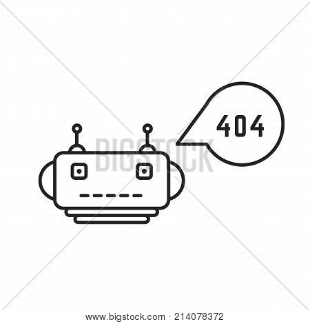 thin line chatbot with 404 error. concept of chatting, robotic ai, sms, failure, talkbot script, notice, smiley, smile. black linear style trend modern logo graphic design element on white background