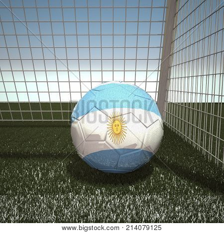Football with flag of Argentina, 3d rendering