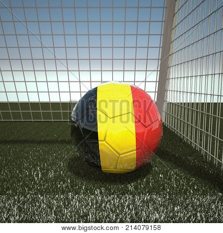 Football with flag of Belgium, 3d rendering