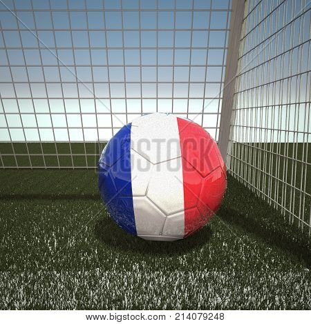 Football with flag of France, 3d rendering
