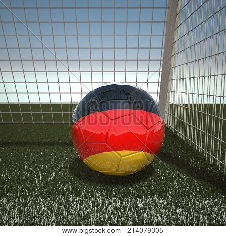 Football with flag of Germany, 3d rendering