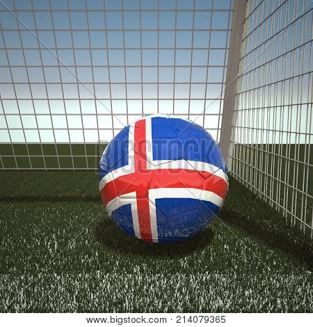 Football with flag of Iceland, 3d rendering
