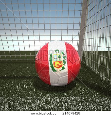 Football with flag of Peru, 3d rendering