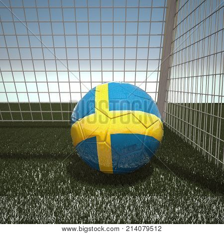 Football with flag of Sweden, 3d rendering