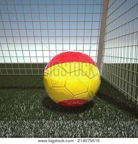 Football with flag of Spain, 3d rendering