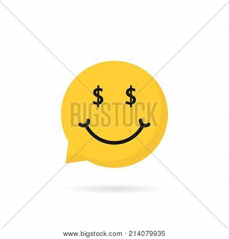 wealthy emoji speech bubble logo. concept of chatbot button, win, gamble, cheerful, dialog, profit, business success. flat style trend modern graphic logotype design element on white background