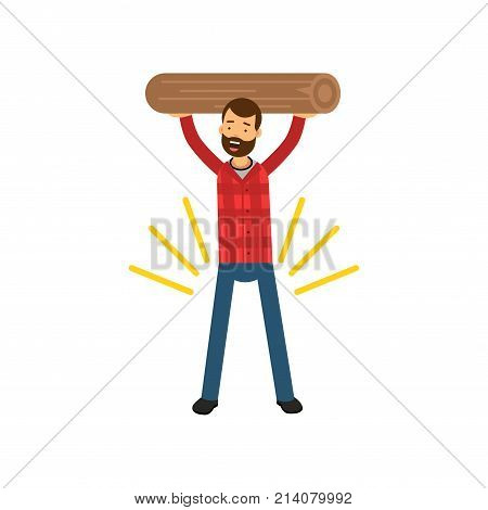 Strong bearded man holding wooden log above his head. Cartoon smiling lumberjack character in hipster plaid shirt and blue jeans. Woodcutter male concept. Flat vector illustration isolated on white.