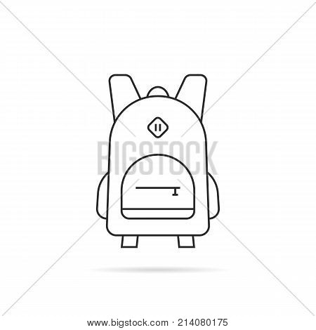 simple black thin line backpack icon. concept of kids briefcase, sack, packsack, school kit, hiking equipment. flat contour style trend modern logotype graphic art design element on white background