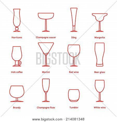 set of red thin line stemware. concept of type dinner fragile tableware, outline simple transparent element, menu barmen, cafe. linear style trend modern logotype graphic design on white background