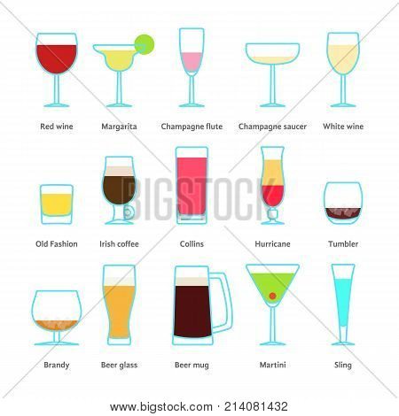 set of color drinks in stemware. concept of type dinner fragile tableware, outline simple transparent element, menu barman, cafe. linear style trend modern logotype graphic design on white background