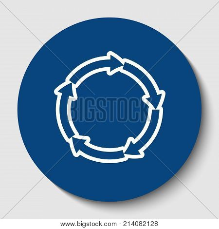 Circular arrows sign. Vector. White contour icon in dark cerulean circle at white background. Isolated.