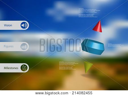 3D illustration infographic template with motif of two spike cone divided to three color parts askew arranged with simple sign and sample text on side in bars. Blurred photo is used as background.