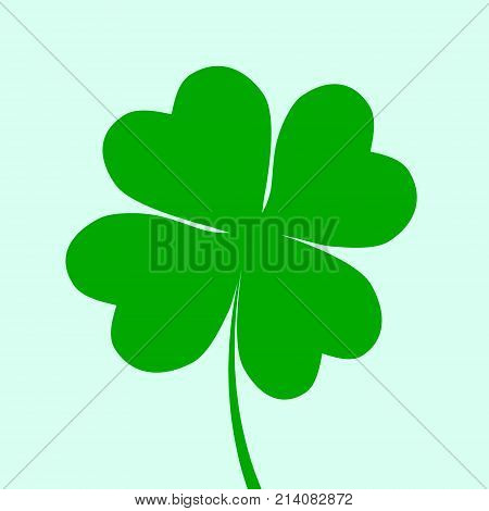 Irish Holiday. Saint Patricks Day 4 Leaves Clover. Vector Illustration .