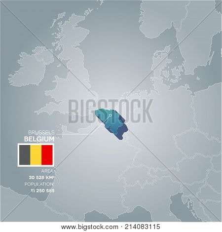 Belgium 3d map with information of area and population of the country.