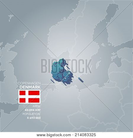 Denmark 3d map with information of area and population of the country.
