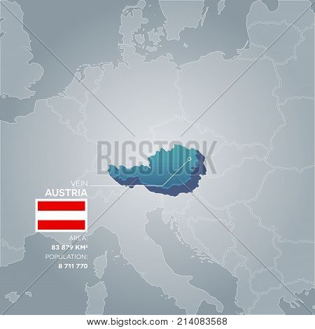 Austria 3d map with information of area and population of the country.