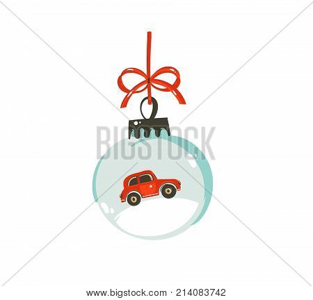 Hand drawn vector Merry Christmas time cartoon graphic illustration design element with glass snow globe ball with red car isolated on white background.