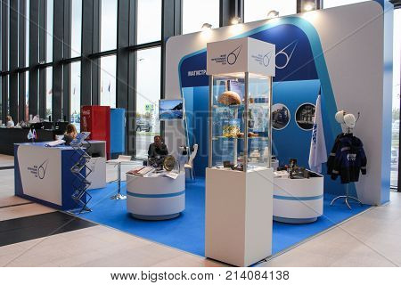 St. Petersburg, Russia - 3 October, Exhibition of exhibits in the hall of the Expo forum, 3 October, 2017. Exhibition in the lobby of the St. Petersburg Expo Forum.