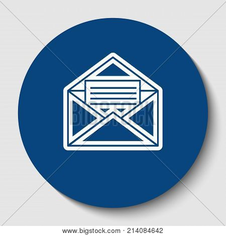 Letter in an envelope sign illustration. Vector. White contour icon in dark cerulean circle at white background. Isolated.