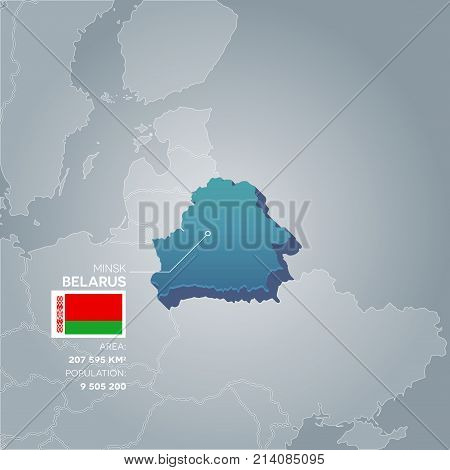 Belarus 3d map with information of area and population of the country.