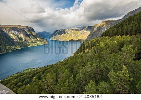 Aurlandsfjord near Aurland, Sogn og Fjordane, Norway.  It is located on the south side of the Sognefjorden in the district of Sogn.