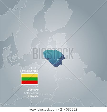 Lithuania 3d map with information of area and population of the country.