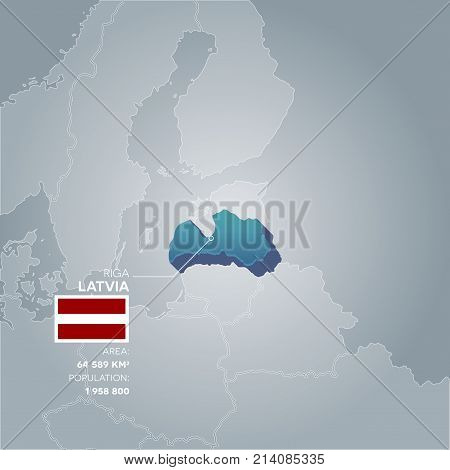 Latvia 3d map with information of area and population of the country.