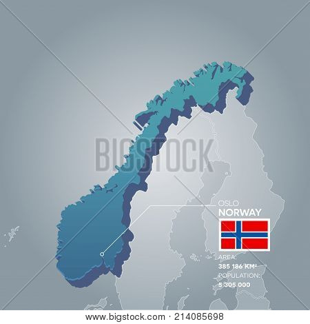 Norway 3d map with information of area and population of the country.