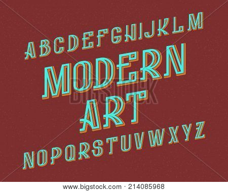 Modern Art typeface. Retro font. Isolated english alphabet.