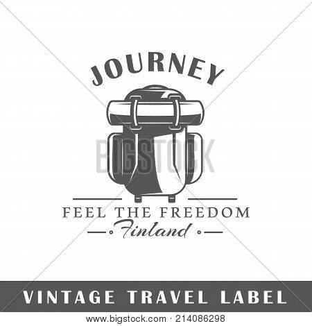 Travel label isolated on white background. Design element. Template for logo signage branding design. Vector illustration