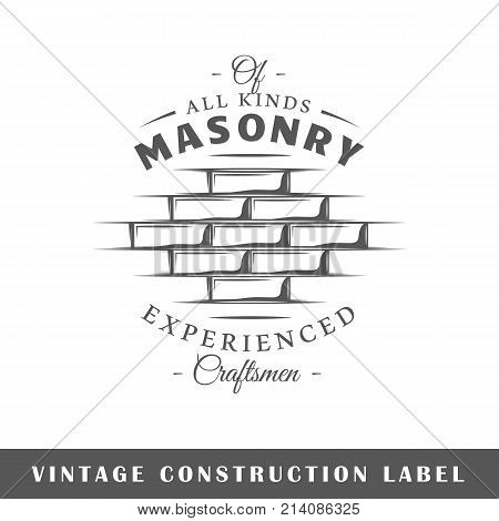Construction label isolated on white background. Design element. Template for logo signage branding design. Vector illustration